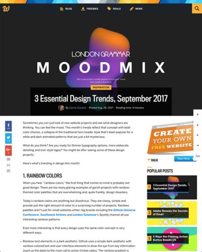図1 最近の重要なウェブデザインのトレンド