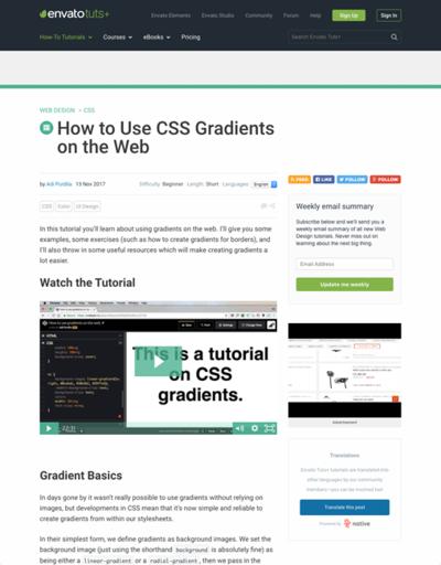 図1 CSSグラデーションのチュートリアルと3つの利用例