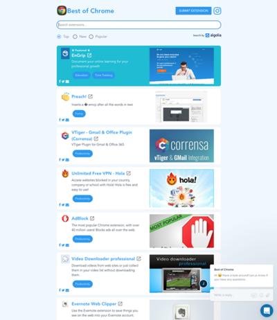 図5 Chromeの拡張機能を人気順や新着順で見られるサービス