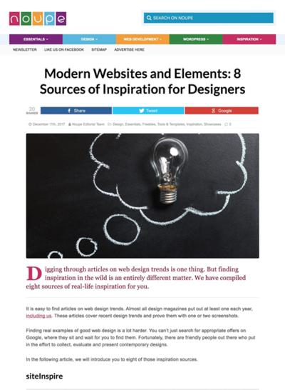 図4 ウェブデザインのインスピレーションを得ることができるサイトいろいろ