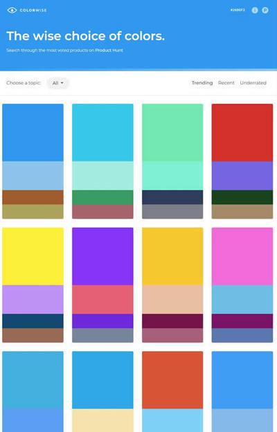 図6 人気のウェブサイトのカラースキームを集めたサービス