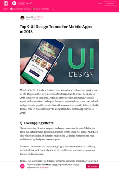 図1 モバイルアプリでのUIデザインのトレンド