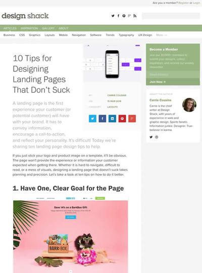 図1 ランディングページを良くするための10個のヒント