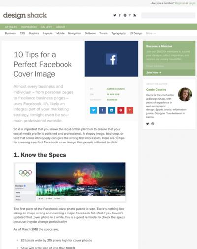 図5 良いFacebookカバー画像を作るためのヒント