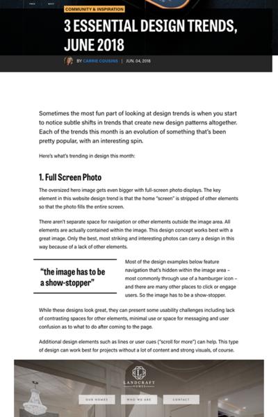 図2 最近のウェブデザインから感じられるトレンド3つ