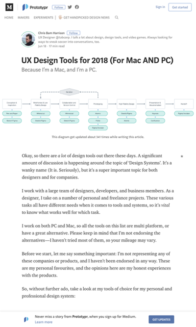 図1 デザイン作業の段階に分けておすすめのUXツールを紹介
