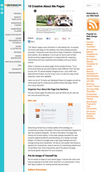 図2 クリエイティブな自己紹介/会社案内ページを作るためのヒント