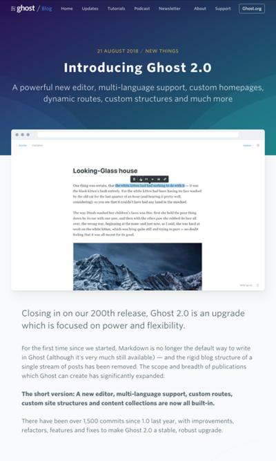 図5 ブログプラットフォームのGhostが2.0にアップデート