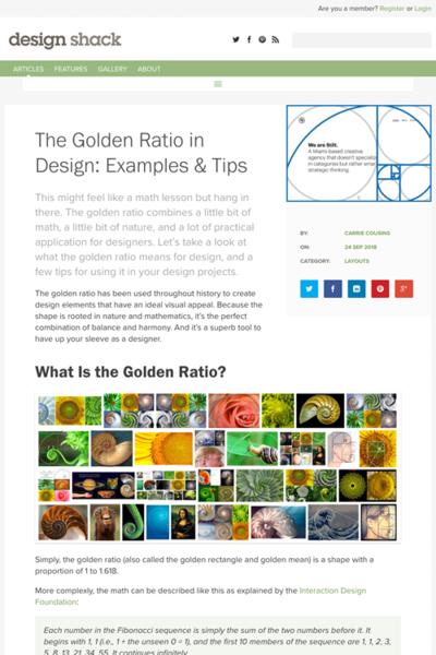 図5 デザインに黄金比を使うためのテクニックと実例