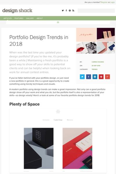 図2 2018年のポートフォリオサイトのデザイントレンド