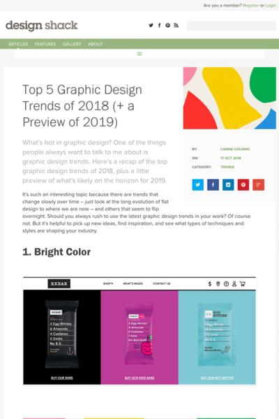 図2 2018年のグラフィックデザインのトレンド