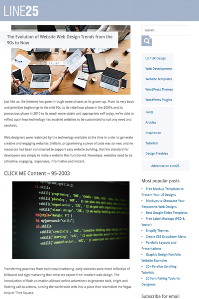 図4 90年代から現在までのウェブデザインの進化のまとめ