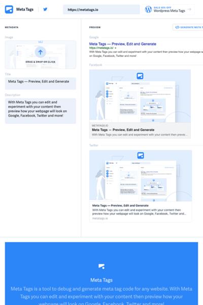 図6 各ソーシャルメディアのプレビューとメタタグの生成/編集ができるサービス