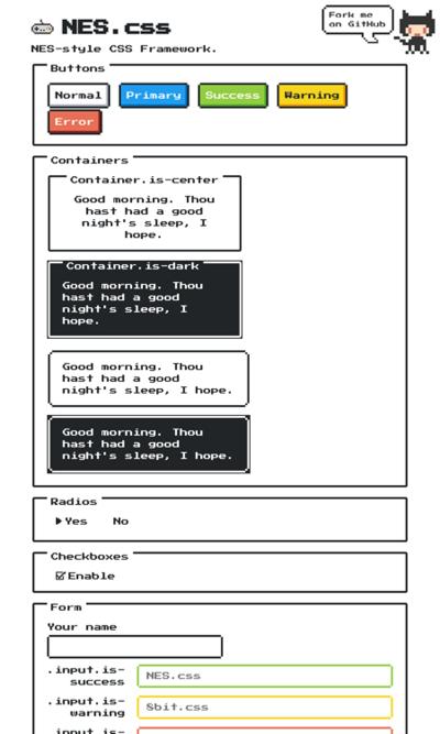 図5 ファミコンをイメージしたCSSフレームワーク