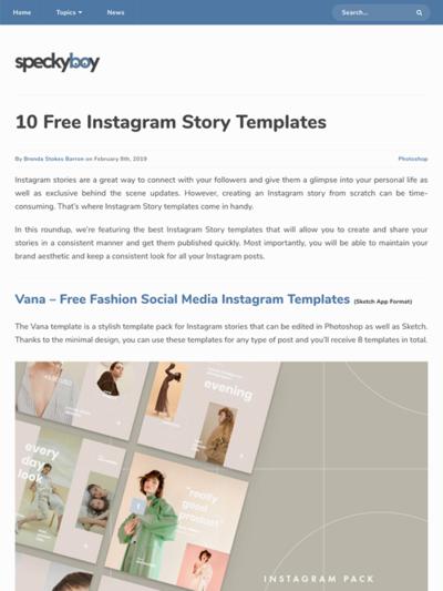 図5 Instagramのストーリー用テンプレートいろいろ