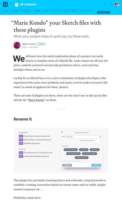 図5 Sketchファイルを整理するプラグインの紹介