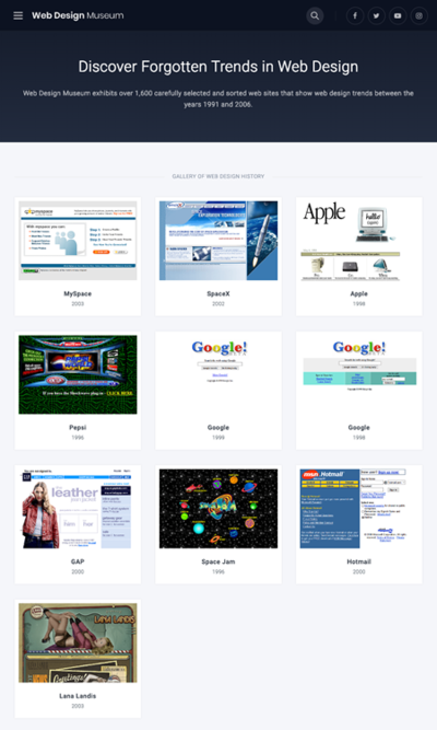 """図4 ウェブデザインの歴史を振り返る""""博物館""""サイト"""