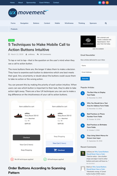 図1 モバイルでのボタンを直感的にするための5つのテクニック