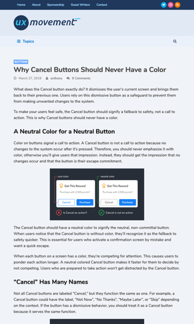 図2 キャンセルボタンには色をつけない理由