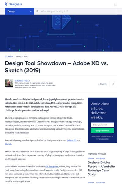 図1 Adobe XDとSketchの機能比較