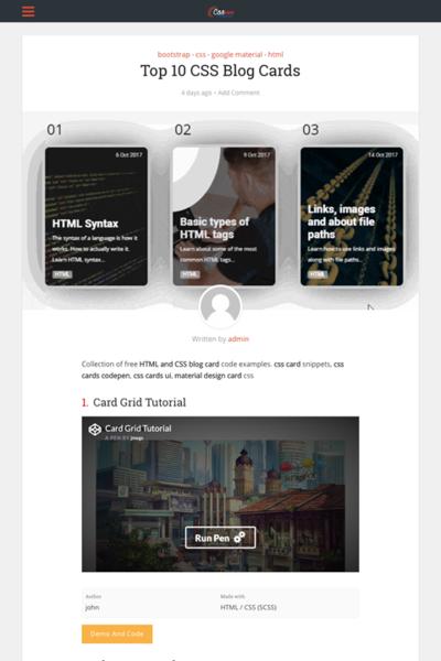 図4 CSSによるカード型レイアウトのコーディング例