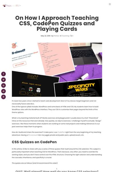 図5 CSSを教えるためにクイズとカードゲームを使う方法