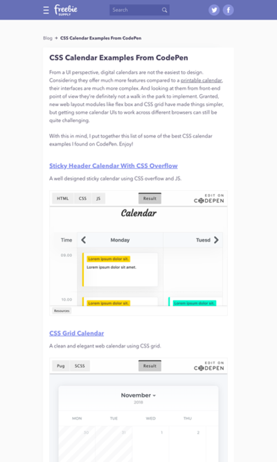 図5 CSSによるカレンダーのコーディング例いろいろ