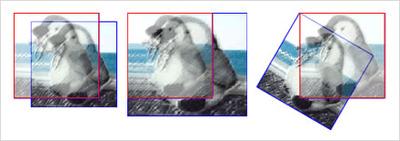 図12 Matrix3Dクラスの平行移動(左)/拡大・縮小(中央)/回転(右)のメソッドの変換結果