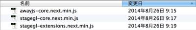 図2 Away3Dで使う3つのライブラリのJSファイル