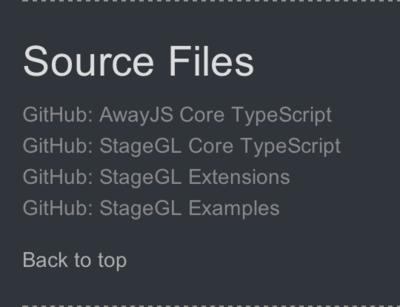 図2 Away3D TypeScriptサイトの「Source Files」の欄