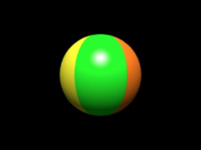 図3 ビーチボールのテクスチャを貼った球体が回る