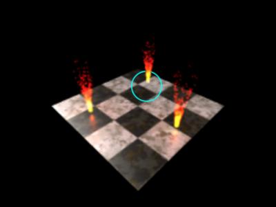 図1 最後の炎のアニメーションの下の床に光が灯らない