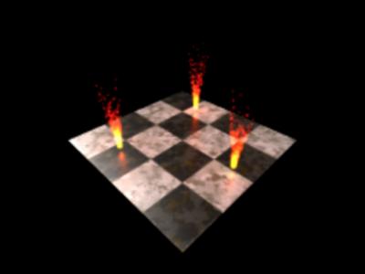 図2 すべての炎の下の床に赤い光が灯った