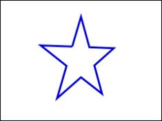 図1 星形の3次元座標がy軸で水平に回って透視投影される