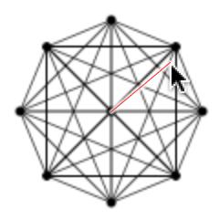 図1 中心からマウスポインタまでの距離と近似した円の半径で重なりを決める