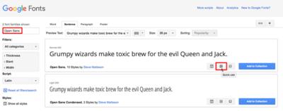 図2 Google FontsのフォントOpen Sans