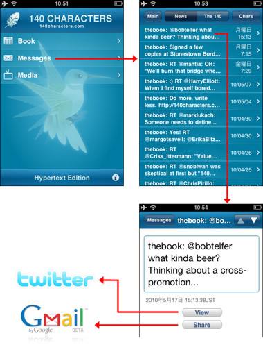 図1 Twitterクライアントの一部の機能が搭載されている電子書籍