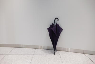 写真1 溝を使って立てかけてある傘