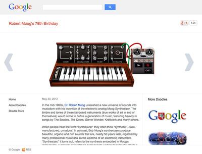 図5 『Robert Moog's 78th Birthday』は,現在もGoogle Doogleのアーカイブページで楽しめる