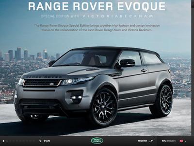 図2 モバイル端末にも対応している『Range Rover Evoque Special Edition With Victoria Beckham』