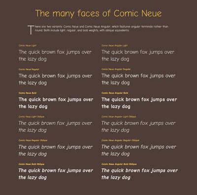 図6 2つのファミリー「Comic Neue」「Comic Neue Angular」が紹介されている