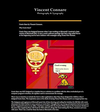 図7 Vincent Connareによって解説されている「Comic Sans」の成り立ち