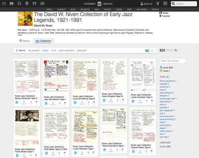 図5 個人コレクターのクラシックジャズのコレクションを無償公開している「The David W. Niven Collection of Early Jazz Legends, 1921-1991」