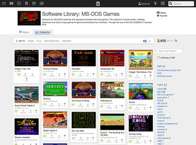 図7 Internet Archiveでは,多くの音楽,映像,ゲームなどが無償でアーカイブされている(画像はMS-DOSのゲームをアーカイブした「Software Library: MS-DOS Games」)