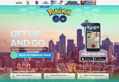 図4 スマートフォン向けアプリ『Pokémon GO』のウェブサイト