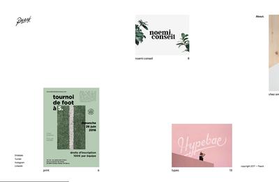 図6 フランス・モンペリエのアートディレクター,Nicolas Garciaのポートフォリオサイト『Paack — Art director』も,横スクロールで実績を紹介している