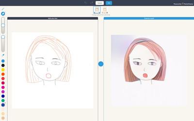 図4 「pixiv Sketch」の「自動着色ボタン」で線画に着色した例。色指定を行えばイメージ通りの着色が自動で行われる