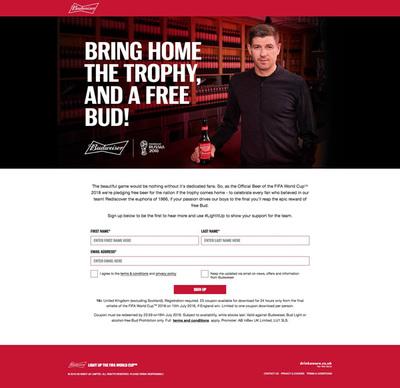 図2 ワールドカップのオフィシャルビールである「Budweiser」が,イングランド代表ファン向けに行ったキャンペーン「Budweiser Gesture」のウェブサイト