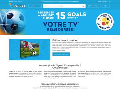 図3 家電量販店Krëfelが行った「ベルギー代表が大会で15ゴール以上決めたら,大型テレビの購入客に代金を返金」というキャンペーン「TV Gratuite !」。最終的にこのキャンペーンは実施されることとなった