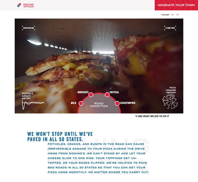 図3 Domino's Pizzaによる新プロジェクト<wbr/>「Paving for Pizza」<wbr/>のウェブサイト<wbr/>『Domino's Paving for Pizza』<wbr/>